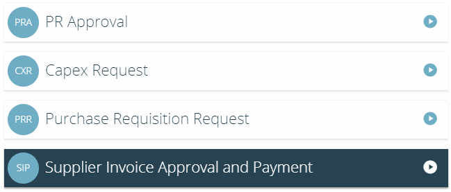 Select the process to submit